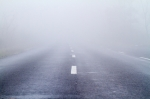 Asphalt road in an autumn fog